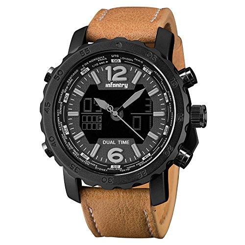 INFANTRY Herren Analog-Digital Armbanduhr Quarzuhr Datum Alarm Stoppuhr Fliegeruhr Outdoor Braun Echtleder Uhrenband