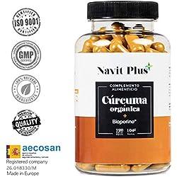 Cúrcuma Orgánica 745mg con BioPerine®. Suplemento Nº 1 en Cúrcuma. Antioxidante natural. 120 cápsulas vegetales con ingredientes de máxima calidad. Cúrcuma ecológica 100% natural. ISO 9001.