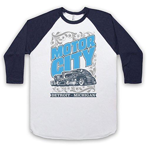 Motor City Detroit Michigan 3/4 Hulse Retro Baseball T-Shirt Weis & Ultramarinblau