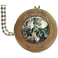 Glass Tile medaglione collana Lupo Medaglione Collana Luna, vetro e piastrelle gioielli gioielli ciondolo gioielli Luna animali lupo gioielli