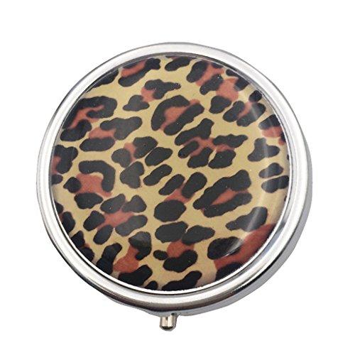 Sharplace Portable 3 Fach Rund Pillendose Pillenbox Kasten Speicher mit Interner Spiegel, aus Edelstahl - Leopard, 4.8cm (Fach-speicher-kasten)