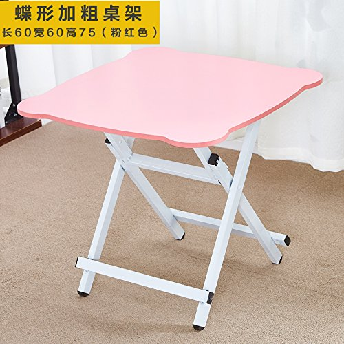 JJTLZY Table PlianteTable Pliante Table à Manger Maison Simple 2 4 Portable Table Ronde Table Ronde Pliante,Upgrade 75 High Pink
