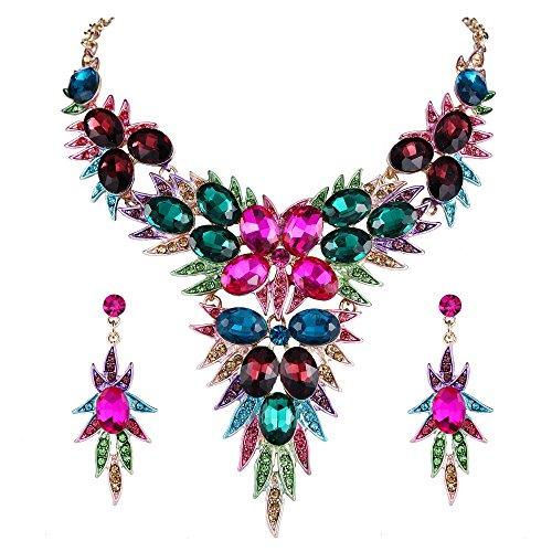 Clearine Damen Hochzeit Braut Kristall Multi Blatt Cluster Statement Halskette Dangle Ohrringe Schmuck Set Bunt Gold-Ton -