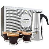 VonShef Espressokocher 6 Tassen Herdplatte Espresso Kaffeemaschine mit 4 Mokkatassen aus Glas - Edelstahl