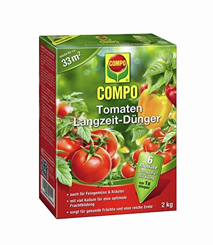 COMPO Tomaten Langzeit-Dünger für alle Arten von Tomaten, 6 Monate Langzeitwirkung, 2 kg, 33m² -