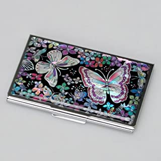 Mother of Pearl Damen Namen Kreditkarten und Id Karten, Bargeld, Metall/Edelstahl, schlankes Design mit Gravur Schmetterling