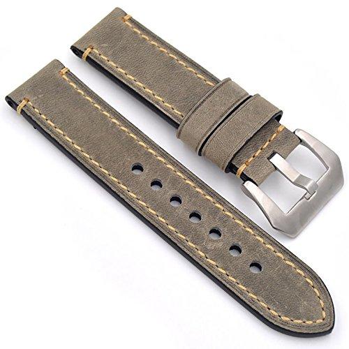Uhrenarmband Modische Herren Damenuhr Uhrband das Armband Ersatzuhr Gurtel hält Watch Strap Riemen Kalbsleder 20mm 22mm 24mm Lederarmband Ersatz-Armbanduhr Uhren Zubehör Watch Band (22mm Grau) (Leder Grau Männer)