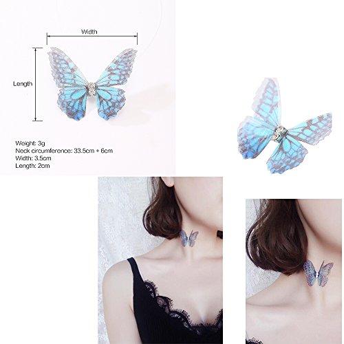 MingJun 4PCS Choker Gold Ketten Disc Double Layer lange Quaste Anhänger Organza Schmetterling unsichtbare Angelschnur Halskette für Frauen Mädchen Teen 90s