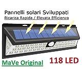 Faretto 900lm 118 LED Sensore di movimento, Pannello Solare Fotovoltaico, Crepuscolare, Wireless (no fili elettrici),batteria 2 x 2.200mah, Impermeabile IP65, CE, RoHs