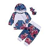 3PCS Neugeborenen Baby Kleidung Set LSAltd Kleinkind Unisex Blumendruck Kapuzen Bluse Langarm Pullover Tops + Pants + Stirnband Outfits Set
