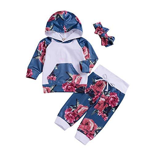 Beikoard Baby Neugeborenes Kleidung Set 3er Set Kleidung Neugeborenes Baby Mädchen Floral Tops Hoodie Hosen Outfits