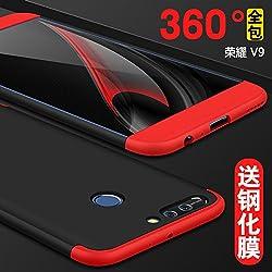 Lucky phone Coque pour Huawei V9/Honor 8 Pro,Noir Rouge Compatible Huawei V9/Honor 8 Pro 3 en 1 Housse 360 Protection Cover Case Caso Étui+1*Protecteur D'écran en Verre Trempé PC Anti-Choc