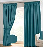 "RAYYAN LINEN Thermal Pencil Pleat Blackout Tape Top Pair of Curtains Ready Made With Free Tiebacks (66"" X 54"", Teal)"