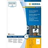 Herma 9501 Etiketten Outdoor Klebefolie (A4 extrem stark haftend Folie matt, wetterfest, 210 x 297 mm) 50 Stück weiß