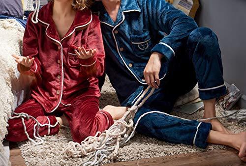 JZX Autumn and Winter Pajamas, Men's Couple Thick Coral Fleece Home Service Suit,Mâle,L