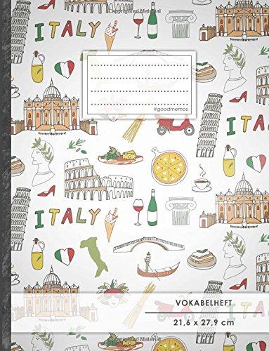 """Vokabelheft: DIN A4 • 50+ Seiten, Soft Cover, Register, 2 Spalten, Erfolgs-Tacker, """"Italienisches Muster"""" • Original #GoodMemos Schulheft • Sprachen und Vokabeln leicht lernen, Lineatur 53"""