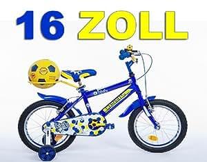 "16"" 16 Zoll Kinderfahrrad Kinder Jungen Fahrrad Bike Jugendfahrrad Jugendrad KICK BLAUGELB"