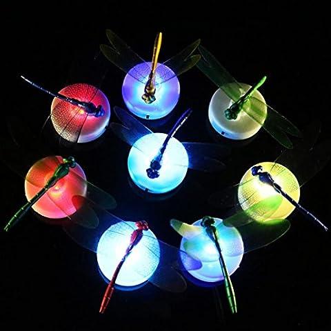 Sisit 5 pièces Dragonfly Stickers muraux lumières LED Stickers muraux Maison 3D Décoration (aléatoire)