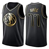 Uomo Adulto Tuta da Basket Estiva da Ricamo Basket Maglie Uniforme NBA Dallas Mavericks 77 Doncic Jersey