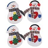 tmodd Little de Navidad 4piezas MUÑECO DE NIEVE cubiertos cubiertos Holder Bolsillos cena de Navidad decoración del partido