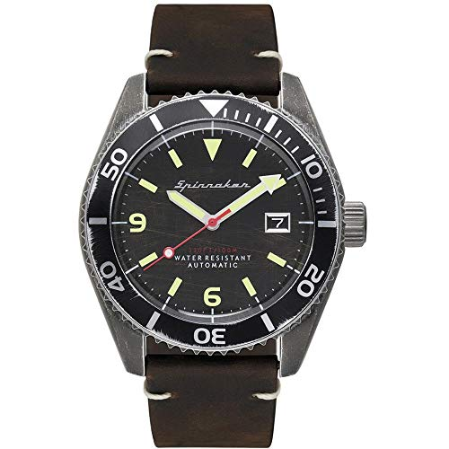 SPINNAKER Men's Wreck 43mm Black Leather Band Steel Case Automatic Analog Watch SP-5065-01