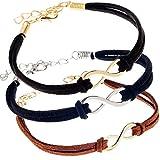 VAGASHOP 3 Leder Männer Frauen Unisex Armbänder Armreifen Cuffs Unendlichkeitssymbolen