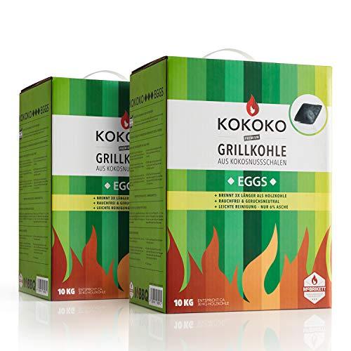 McBrikett KOKOKO EGGS 2 x 10kg, Bio Kokos-Grillkohle, Ideal für Dutchoven, Kugelgrill, Watersmoker
