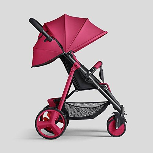 Unbekannt ERRU- Kinderwagen Kann sitzen Kinderwagen Liegen Leichte Stahl Mini Falten Outdoor-reisen Systeme Kind Sommer Tragbare Lila Blau Gelb Rot Prams Leichte Sitzbuggys (Farbe : Rot)