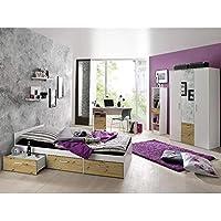 Preisvergleich für storado.de Jugendzimmer Berlin weiß matt asteiche 6 TLG. Komplett Set Kinderzimmer Möbel