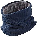 Vbiger Damen&Herren Winter Loop Schal Unisex Warmer Feinstrick Flecht Muster weichem Fleece Innenfutter Schlauchschal,blau
