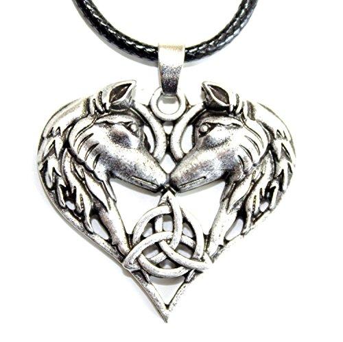 Collar Joya Lobo Zorro Colgante/Amor Amistad corazón Luna Plateado/Viking païen Wicca Breton/Nudo Triskell Celta círculo de Vida/Original Regalo Mujer Hombre jóvenes Padre Madre