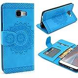URCOVER® Mandala Pattern Case Wallet | Samsung Galaxy A5 2016 | Flip Cover Simil cuir in Bleu | Peau Coque Portefeuille Clapet Stand Rabat Élegant Étui Protection Portable