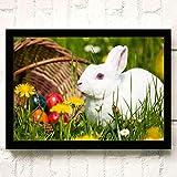 XWArtpic Schöne Haustier Wilde Kaninchen Blume Gras Niedlichen Häschen Ostern Cartoon Tier Kinderzimmer Wohnkultur Poster wandkunst leinwand malerei 90 * 120 cm