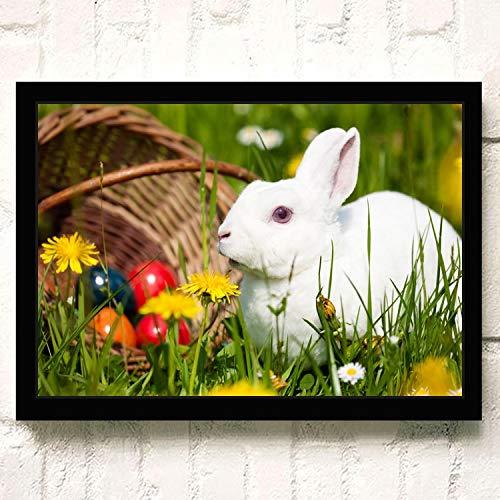 XWArtpic Schöne Haustier Wilde Kaninchen Blume Gras Niedlichen Häschen Ostern Cartoon Tier Kinderzimmer Wohnkultur Poster wandkunst leinwand malerei 40 * 50 cm