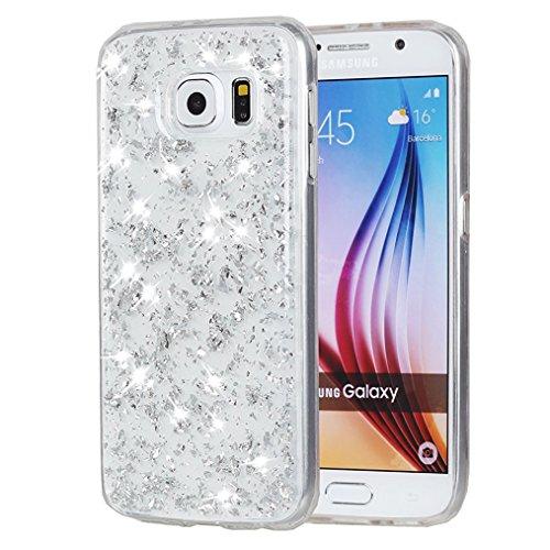 Sunroyal® Custodia per Samsung Galaxy S6 Edge G9250 SM-G925 Protettiva Cover Universale di Ultra Sottile TPU Morbido Antigraffio Trasparente Cristallo Chiaro e Shock-Absorption Bumper Case Posteriore  Modello 17