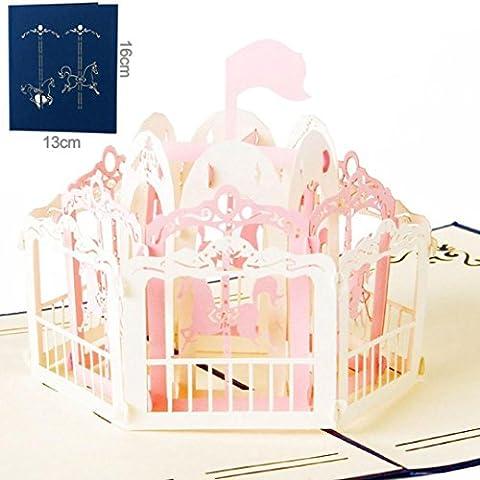 Ouneed® Carrousel Fantasice Carte de Voeux 3d Enfante Cadeux (D)