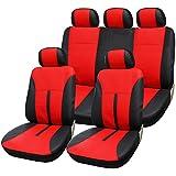 SITU universal Auto Schonbezug Komplettset Sitzbezüge für Auto aus Kunstleder schwarz/rot SCSC0085