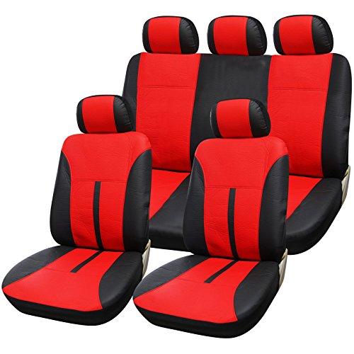 eSituro universal Auto Schonbezug Komplettset Sitzbezüge für Auto aus Kunstleder schwarz/rot SCSC0085