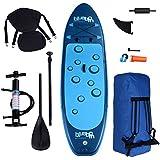 Blueborn Unisex– Erwachsene Sup Traveller Blue 305x77x11 Stand up Paddle Board mit Sitz Fußstütze Paddel Pumpe Tasche, Blau 305x77x11 cm