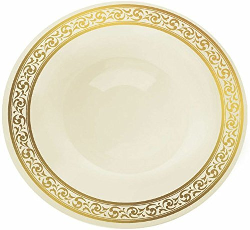 Decor Cream with Gold Rim 12oz. Heavyweight Plastic Soup Bowls 10 Count by buyNsave Gold Cream Soup Bowl