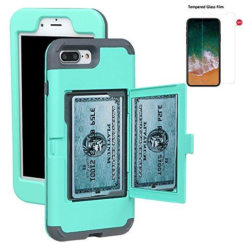 """xhorizon Coque mince d'armure et de protection antichoc de portefeuille avec une double couche cachée avec miroir pour le support de la carte de crédit pour iPhone 7 Plus/ iPhone 8 Plus[5.5""""] Vert +9H Glass Tempered Film"""