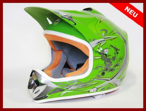 Helm Kinderhelm Motorradhelm Crosshelm Motocrosshelm Sport Grün (L)