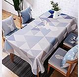 DZYZ Europäische Baumwoll-Leinen Tischdecke Fleckbeständig Verschiedene Größe , 140*230cm , light blue