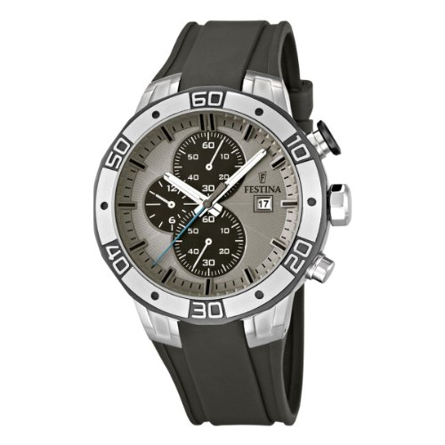 Festina 2013 Tour of Britain Men's Quartz Watch with Beige Dial Chronograph Display and Grey PU Strap F16667/2