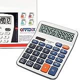 Calcolatrice desktop a funzione standard, Calcolatrice di base a chiave OFFIDIX Desk, calcolatrice elettronica a doppia alimentazione Calcolatrice a 12 cifre con display grande (batteria inclusa)