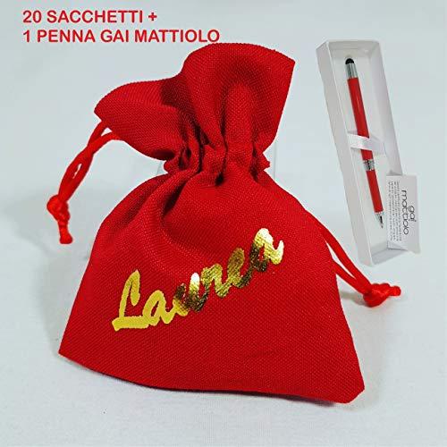 Sindy Bomboniere 20 Sacchetti Rossi con Scritta Laurea e 1 Penna Touch  Firmata GAI Mattiolo b2619b05f1ad