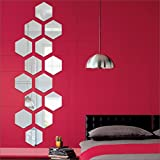 #4: Atulya Arts OFFERING - {FREE 10 3D Butterfly Wall Stickers with every order} - Hexagon wall stickers Silver (pack of 14) 3D aCryliC stiCker, 3D aCryliC stiCkers for wall, 3D mirror wall stiCkers, 3D aCryliC wall stiCker, 3D deCorative stiCkers, 3D aCryliC home wall deCor, 3D aCryliC mirror stiCKers, 3D aCryliC mirror wall stiCkers for living room, 3D aCryliC mirror wall stiCkers for bedroom, kids room, 3D aCryliC mural for home & offiCes deCor