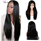 """Life Diaries 150% Density Light Yaki Straight Nature Color Glueless Lace Front Wigs 8A Unprocessed Brazilian Virgin Human Hair Full Lace Wig For Women(24"""", full lace wigs)"""