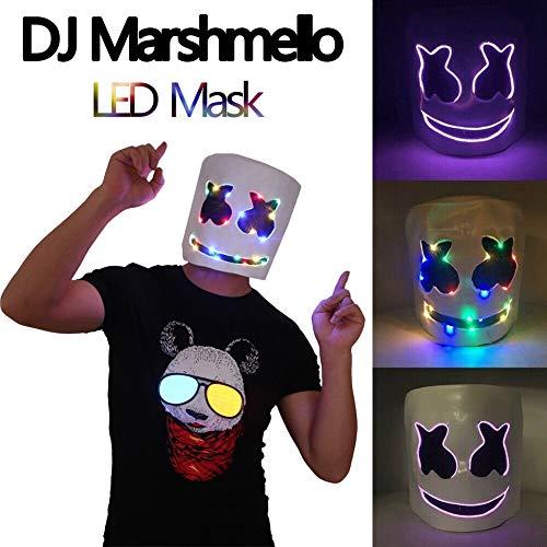 finelyty Marshmello Helmet, DJ Marshmello máscara para niños/Adultos, LED Marshmello DJ Mask Full Head Helmet, Cosplay Marshmallow Party Bar Música Prop Máscaras de látex