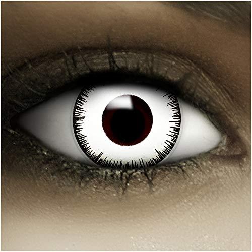 Farbige Kontaktlinsen Vampir MIT STÄRKE -2.00 + Kunstblut Kapseln + Behälter von FXCONTACTS in weiß, weich, im 2er Pack – perfekt zu Halloween, Karneval, Fasching oder Fasnacht - 2
